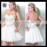 C0080 See Through Tight White Ball Gown Short Tulle Cocktail Dresses