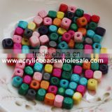 Diy Mixed colorful cube wooden bead wholesale 5/6/8mm For Children Jewelry Kits