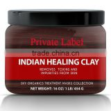 Indian Healing Clay Face Skin Care, Deep Skin Pore Cleansing, Detoxifying Helps with Acne & Rejuvenating Skin