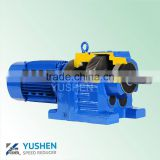 0.55kw R67 Ratio 56.89 B14 flange foot mounted helical gear reduction helical worm gear box