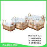 Home storage nested wicker knitting baskets with 2 side handles