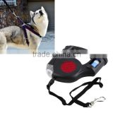 4.5M Automatic Dog Lead Retractable Dog Leash Pet Traction Rope Chain Harness Dog Collar Pet Products 3 LED Lights Garbage Bag