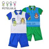 China wholesale kids clothing 2-piece embroidered graphic polo tops+short sets boys pique sports suits
