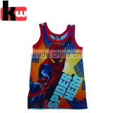Quanzhou Professional Factory Supply Cool Spider-man Print 100% Cotton Child clohtes Boys Vest/Tank Top