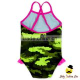 YZA-001 Yihong Fancy Baby Swimsuit Printed Pattern Ruffle One Piece Toddle Girls Swimwear Beachwear