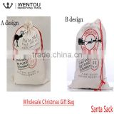 Christmas Gift Canvas Santa Sack Bag With Drawstring