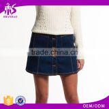 2016 Guangzhou Shandao OEM/ODM Custom Design Casual Summer Short Mini Dark Blue Slim Women Denim Overralls Skirt