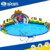 Hot inflatable pool slide , inflatable water park with round pool for adults and kids