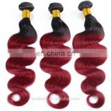 Dark Root Ombre Hair Extensions 1b/99j Peruvian Virgin Hair Body Wave Wavy Red Wine Two Tone ombre Human Hair Weave
