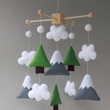 100% handmade felt baby mobile maufacture