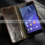 For sony z3 wallet case with ID card holder book stand mobile phone case cover,flip leather case for sony z3