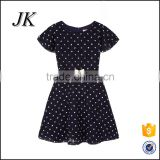 2016 new design kids one-piece dress fashion design small girls dress,round neck dress for kids