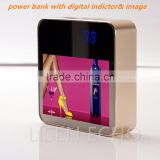 LCD digital display indicator power bank polymer cell 6600mah with HD advertising, Aviation aluminium portable power