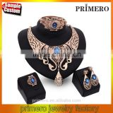 Dubai 18k Gold Plated Hot Selling CZ Crystal Statement Necklace And Earrings Set 4 PCS Jewelry Sets
