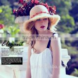 lady natural color raffia crocheted straw hats to decorate, ladies beach hats to decorate