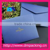 luxury blue paper envelope with gold hot stamping