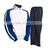 Tracksuit/Training Suit/Jogging Suit 100% Polyester Tricot 220 gsm in White/Blue/Black color