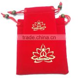 Red jewellery packaging bag with golden logo
