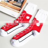 Customized Sports Combed Cotton Silly Sneaker Socks, Crew Silly Sneaker Socks, Make Your Own Socks