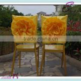 YHC#106 satin handmade flower-polyester banquet wedding wholesale cheap chiavari chair cover