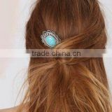 Yiwu factory antique silver hair clip with faux turquoise stone cab