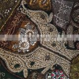 Multi color Indian Vintage fabric patchwork beads sequins tapestry table runner placemat