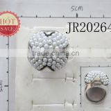 2014 Antique SIlver Alloy Chassis Pearl Beaded Ring