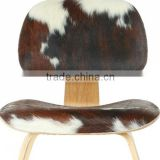 Molded Plywood Chair Cow Leather, Real Leather Upholstered Chair, Genuine Leather Cover Lounge Chair