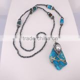 Jasper Slice Agate Gem stone Necklace, with 3mm Black Hematite Beads Necklace, with Pearl Pendant Druzy Necklace