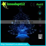Christmas gift 3D illusion led optical night light, tree shape Christmas decoration