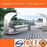 HL-2044 Beach sun lounger pool chaise lounge beach chair with sun canopy Garden Outdoor Rattan Furniture