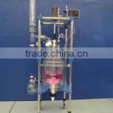 China Laboratory distillation columns top grade multi effect three layers jacketed glass Reactor with condesner 20L