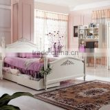 Pure White Design Kid Bedroom Furniture, Wood Carved Children Bedroom Set, Solid Wood Bed With Sliding Drawer