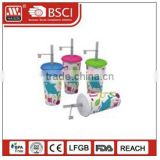 Wholesales 12oz /24oz acrylic plastic Tumbler straw /Plastic disposable cup with straw and llid