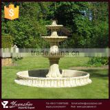Natural outdoor large 3 tier stone marble water fountain