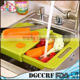 NBRSC Multi-Function Over The Sink Cutting Board Strainer Plastic Kitchen Tool