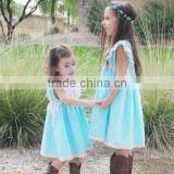 Little Girls Aqua Blue Cotton Dress Sister Vintage Lace Crochet Well Dressed Wolk Remake