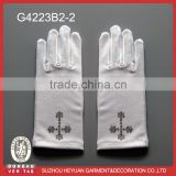 G4223B2-2 First communion white satin glove with rhinstone cross