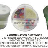 4 Style plastic craft material colored glow sand, stone, sequin W/ combination dispenser