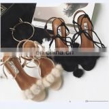 DIY real fur accessories for slide slipper sandal shoes/ cloth/earring real fox fur strap trim fur pom poms for shoes