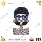 A beautiful lady custom wholesale sequin applique for clothing