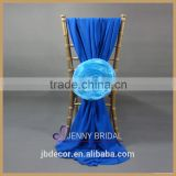 C214A elegant blue with organza flower chiffon chair sash