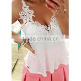 Instyles 4685 Women Blouse Patchwork Lace Shirts Sexy Chiffon Blouse Spagetti Strap Vest Tops Blusas XXXL bo Clothing
