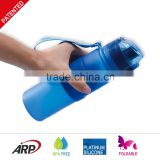 High Quality One Touch Cap Collapsible Silicone Water Bottle