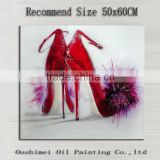 Skills Painter Handmade High Quality Lady High Heeled Red Shoes Oil Painting On Canvas With Beautiful Villi For Living Room