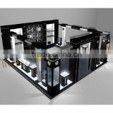 Beautiful Pure black Watch display showcase/mall watch display furniture/glass display showcase for watch