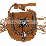 2015 Western stylish Real-Handmade-Western-Style-Suede-Leather-Beaded-Ladies-Shoulder-Bag-Fringed Chocolate camel colors