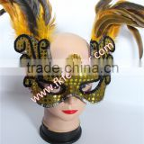 Gold Feather Mask Big Side Cock Feather Mask And Carnival Mask For Cheap Wedding Decorations