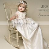 2014 gorgeous and detailed floral length lace overlay embroidered satin christening gowns                                                                         Quality Choice