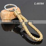Hot Sale Manual Hand Braided Rope Silver Zinc Alloy Metal Round Tag Braided Leather Cord Gold Leather Straps Braid Key Ring